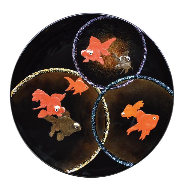 金魚蒔絵大皿